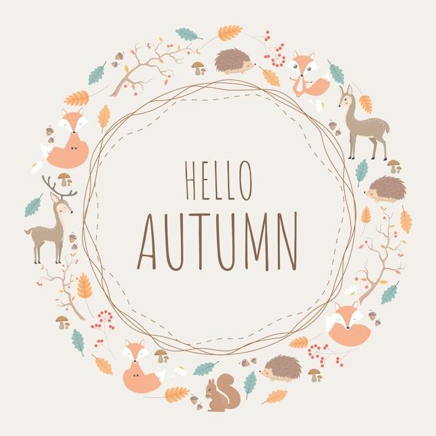 Round pattern design of autumn background with animals Premium Vector