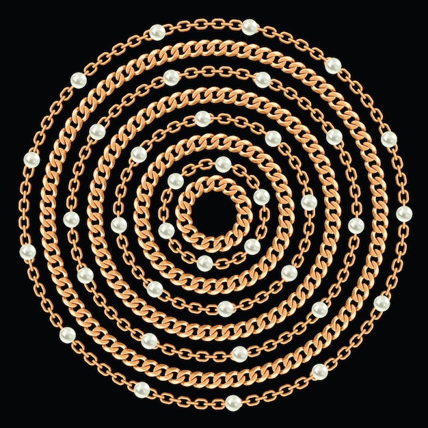 Round pattern made with golden chains and pearls. Premium Vector