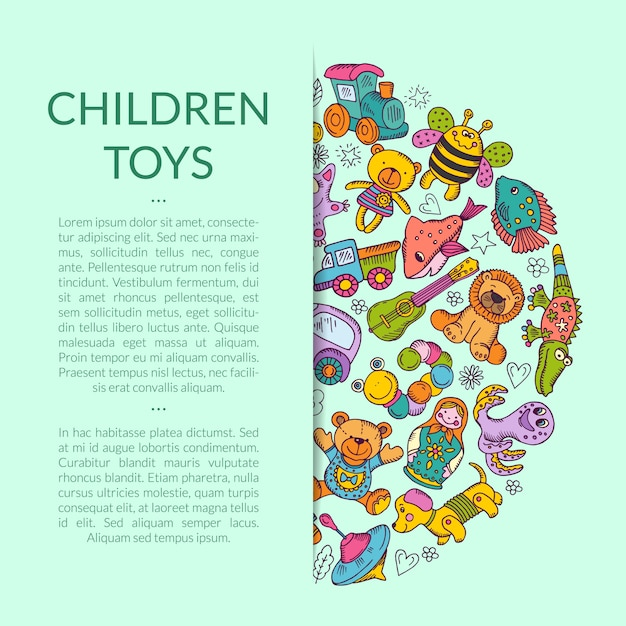 Round pile of kid toys elements half hidden  with place for text Premium Vector