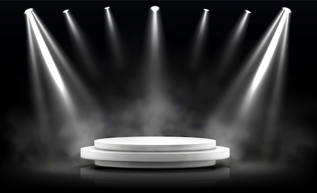 Podio rotondo, palco vuoto illuminato da faretti. Vettore gratuito
