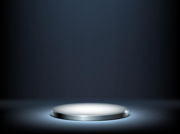 Круглый подиум, металлический постамент с подсветкой Бесплатные векторы