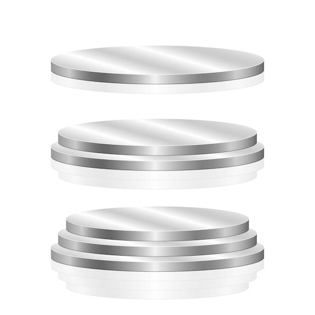 Круглый подиум на белом фоне Premium векторы
