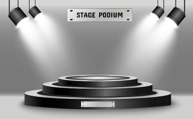 Круглый подиум, постамент или платформа, освещенные прожекторами на заднем плане. иллюстрации. яркий свет. свет сверху. место для рекламы Premium векторы