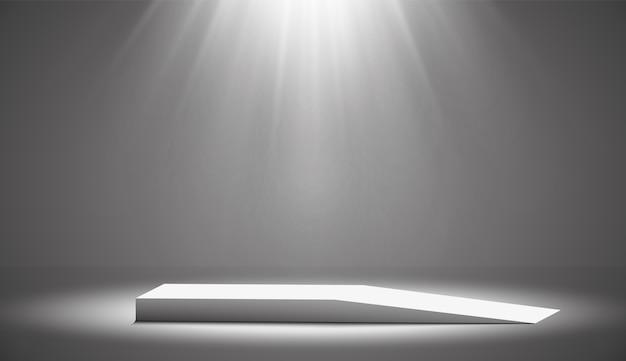 둥근 연단, 받침대 또는 플랫폼은 흰색 바탕에 스포트라이트로 조명됩니다. 디자인을위한 플랫폼. 현실적인 3d 빈 연단. 아름다운 조명이있는 무대. 프리미엄 벡터