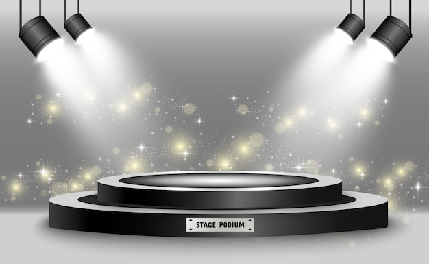 Round podium, pedestal or platform, illuminated by spotlights in the background.  illustration. bright light. light from above. advertising place Premium Vector