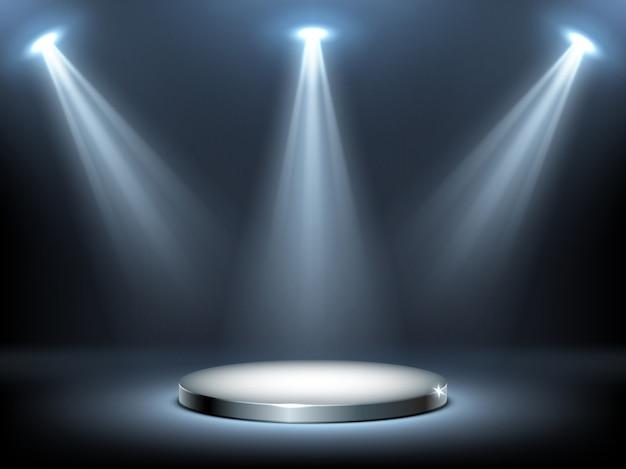 Круглый подиум в лучах прожекторов, реалистичный Бесплатные векторы
