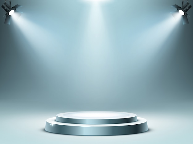 Round podium stage in spotlights rays, realistic Free Vector