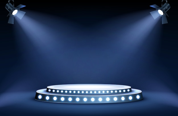 Round podium stage in spotlights rays Free Vector