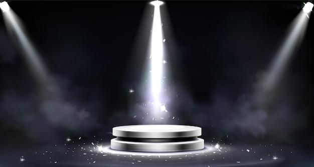 연기 효과, 스포트라이트 조명 및 빛 반짝임이있는 라운드 연단, 무료 벡터