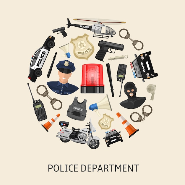 Round police composition Premium Vector