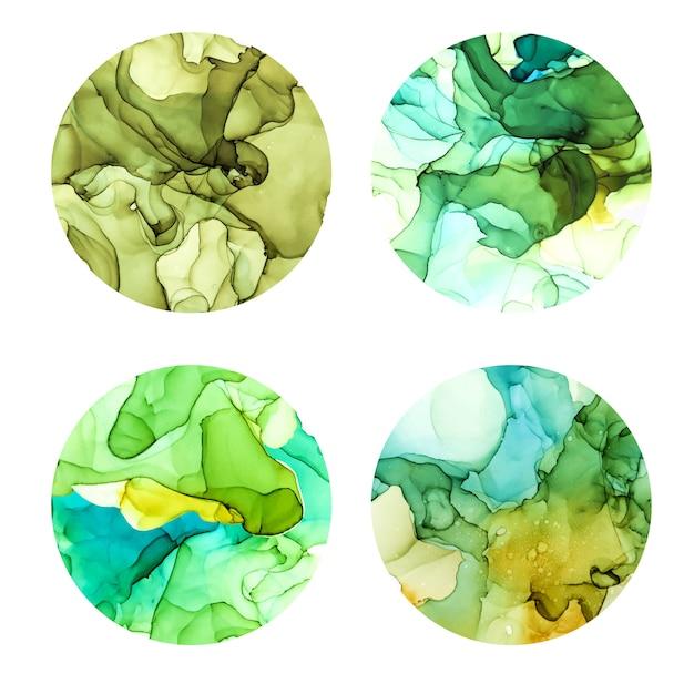 丸いポスターセット、ウェット水彩背景、緑の色合い、手描きの背景テクスチャ Premiumベクター