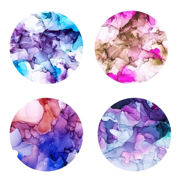 丸いポスターセット、ウェット水彩背景、紫の色合い、手描きの背景テクスチャ Premiumベクター