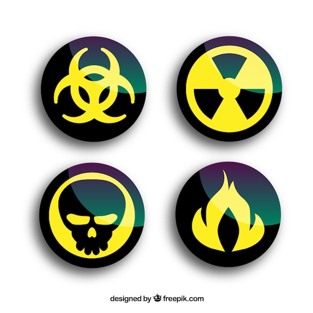 Round radiation warning Free Vector