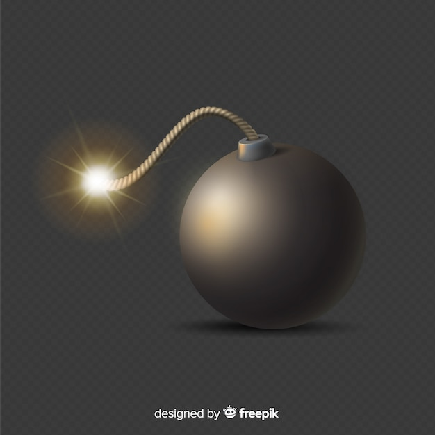 Round realistic black bomb on black background Free Vector