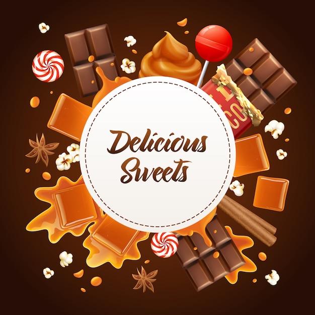 Круглая реалистичная карамельная композиция с восхитительными конфетами и карамельным заголовком Бесплатные векторы