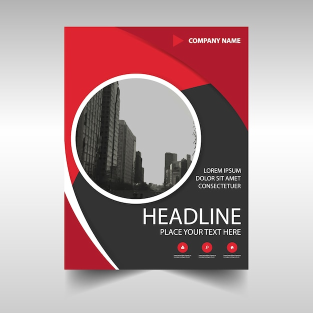 Round red profesional business brochure template Free Vector