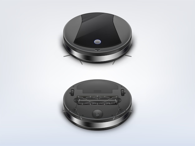 Round robot vacuum cleaner top Free Vector
