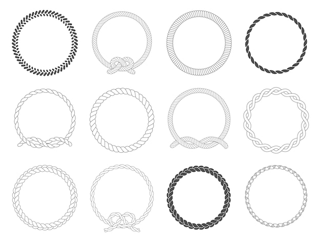Round rope frame. circle ropes, rounded border and decorative marine cable frame circles isolated  set Premium Vector