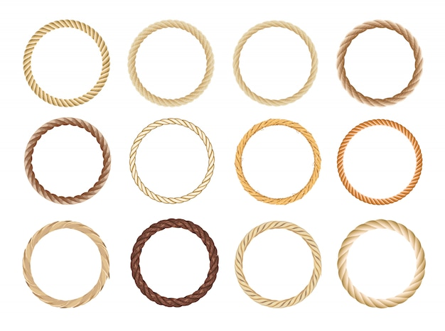 Round rope frame set. circle ropes, rounded border and decorative marine cable frame circles. Premium Vector