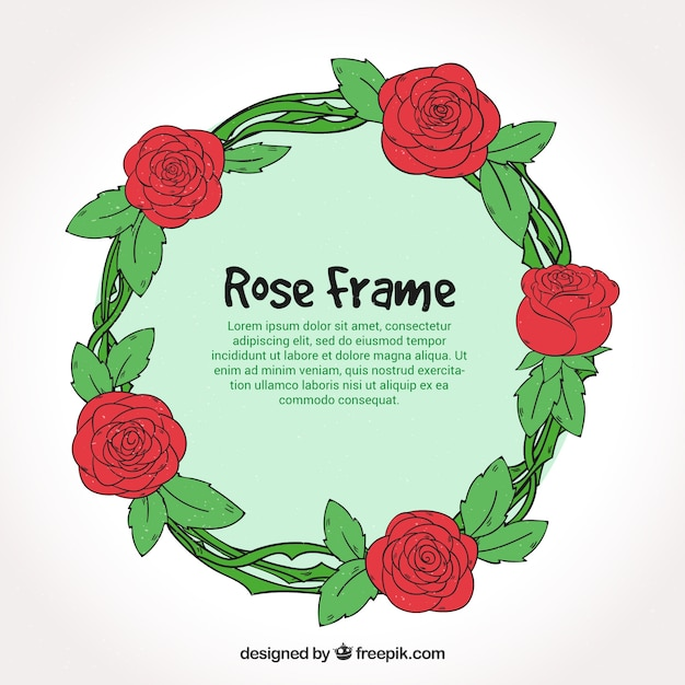 Round rose frame in hand-drawn style