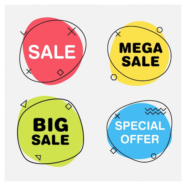 Round sale banners Free Vector