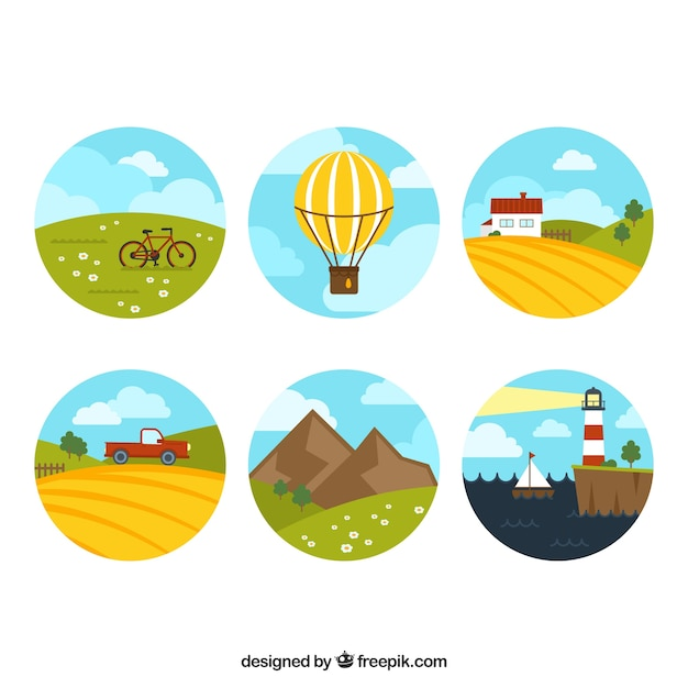 Round scapes collection Free Vector