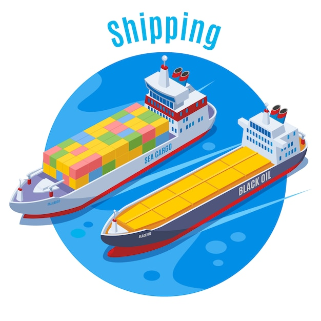 Round seaport isometric background with two logistic ship on blue fond and big headline shipping  illustration Free Vector