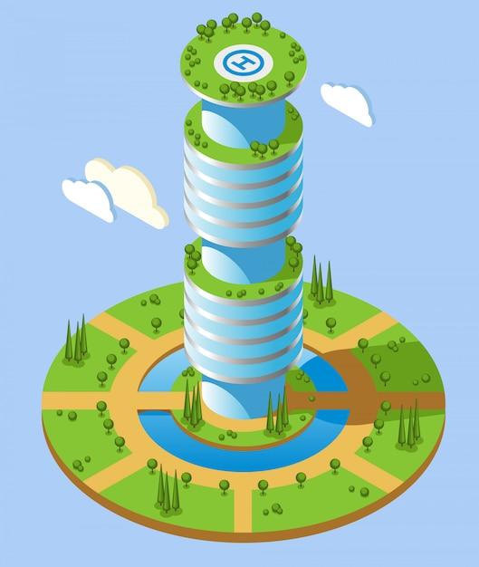 Sfondo di grattacieli futuristici isometrici di forma rotonda con grattacieli e zone verdi Vettore gratuito