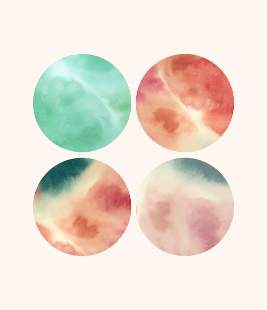 Round shaped watercolor backgrounds Free Vector