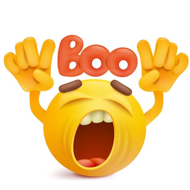 Round smiley face emoji making boo gesture  Vector | Premium