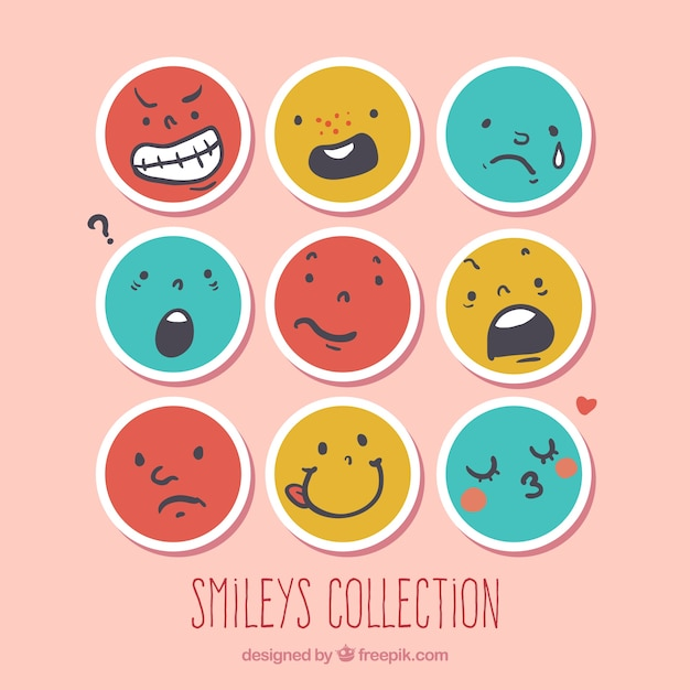 Round smileys collection Free Vector