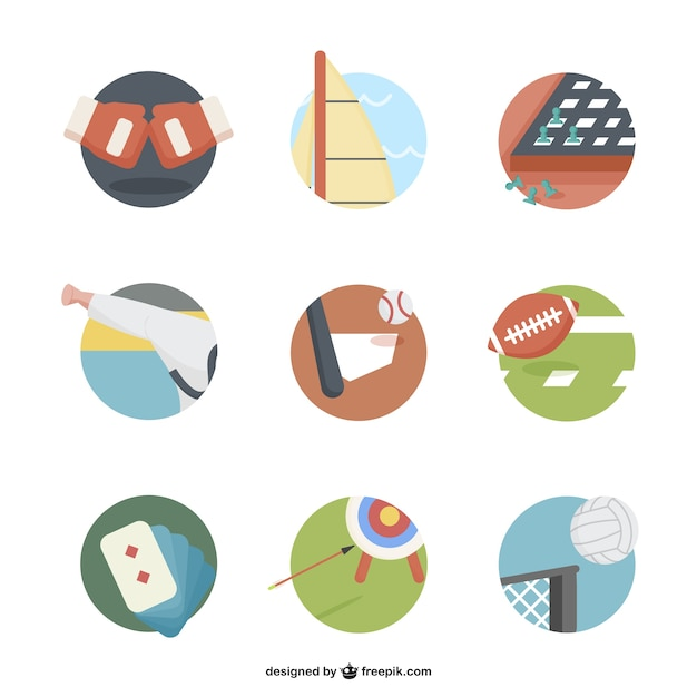 Round sports icons Free Vector