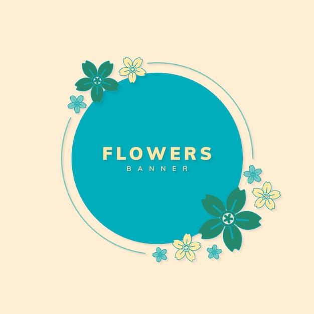Round spring flower badge vector Free Vector