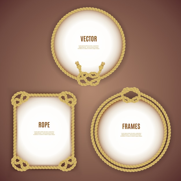 Round and square rope frames Free Vector