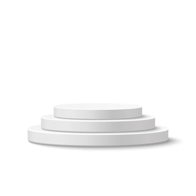 Круглый подиум, пьедестал на белом фоне. иллюстрация. Premium векторы