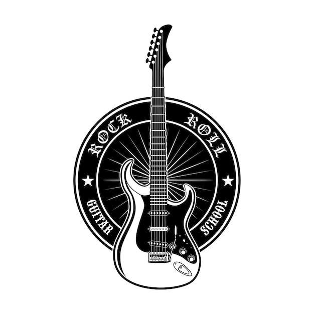 Round sticker for guitar school vector illustration. black promotional label or advertising for rock music lessons Free Vector