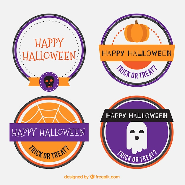 Round stickers for halloween free vector