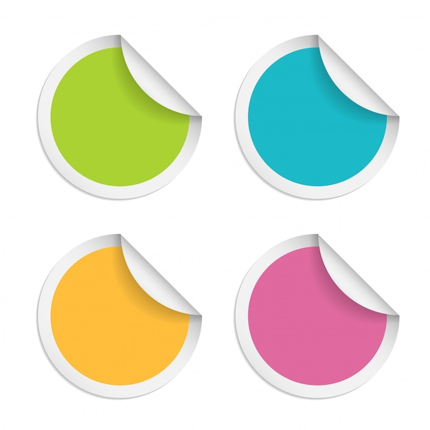 Round stickers with curled edge isolated on white background Premium Vector