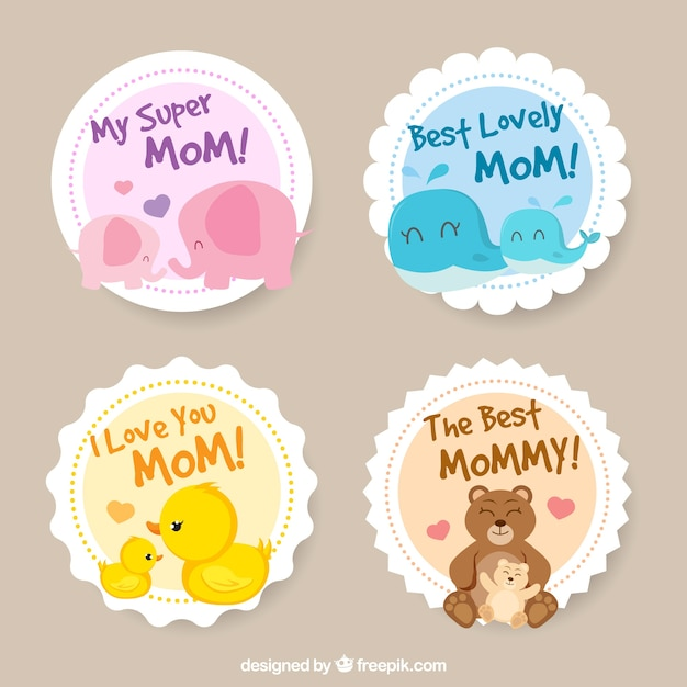 Round stickers with cute elements for mother's day Free Vector