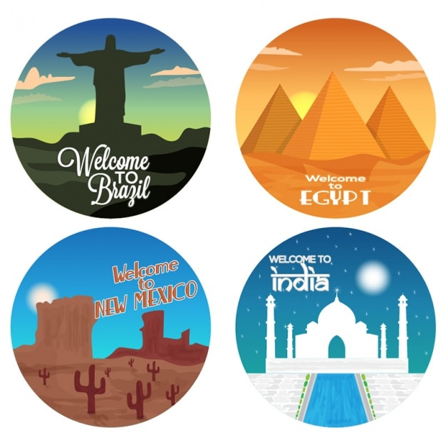 Round stickers with different countries premium vector