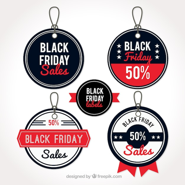Round tags for black friday with red details