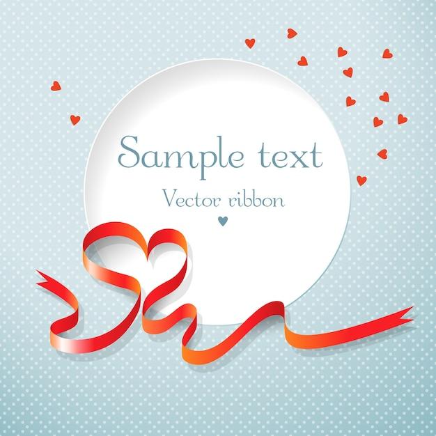 Круглое текстовое поле красная лента и сердечки векторная иллюстрация Бесплатные векторы