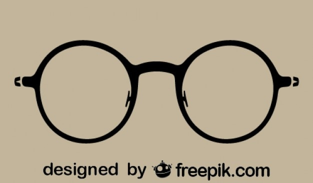 Round Vintage Glasses Silhouette Icon Vector