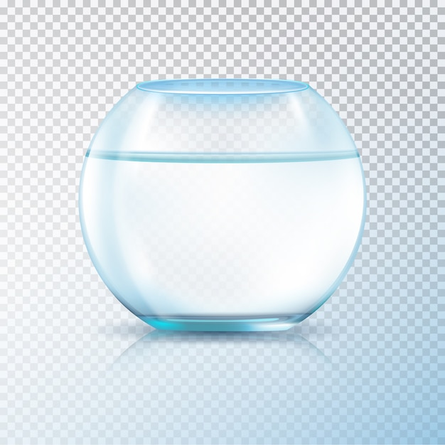 Round walls glass tank fish bowl aquarium filled with clear water realistic image transparent background vector illustration Premium Vector