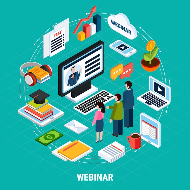 Round webinar isometric composition Free Vector