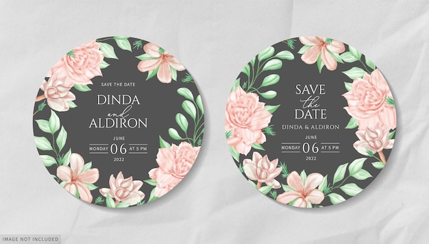 Round wedding invitation card with watercolor floral frame