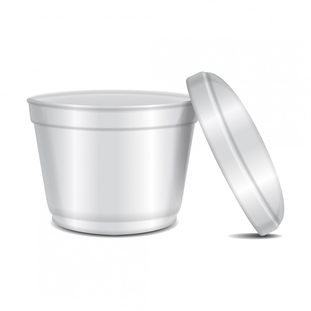 Round white plastic container. soup bowl or for dairy products, yogurt, cream, dessert, jam.  packaging template Premium Vector