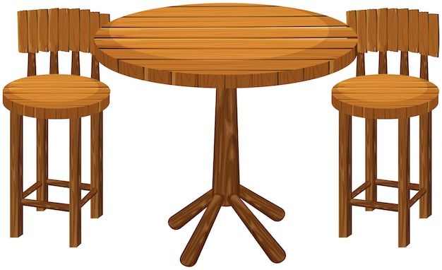 Round wooden table and chairs Free Vector