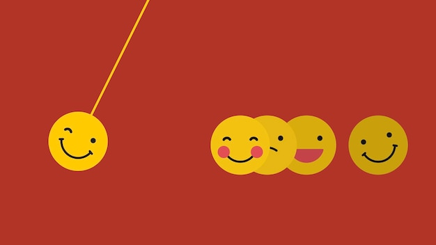 Round yellow emoticon in happy moods swing isolated on red background Free Vector