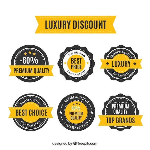 Rounded discount stickers Free Vector